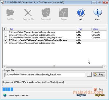 ASF-AVI-RM-WMV Repair App Preview