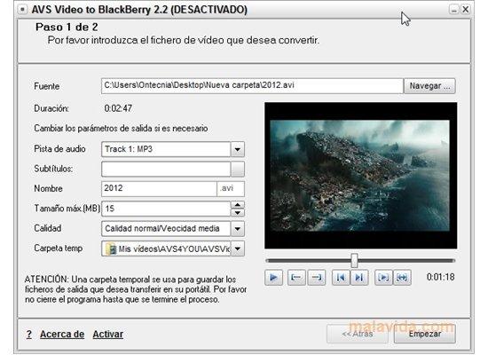AVS Video to BlackBerry App Latest Version for PC Windows 10