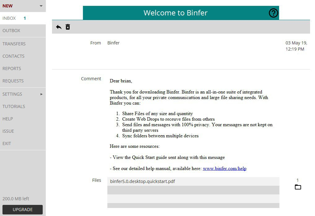 Binfer App Preview