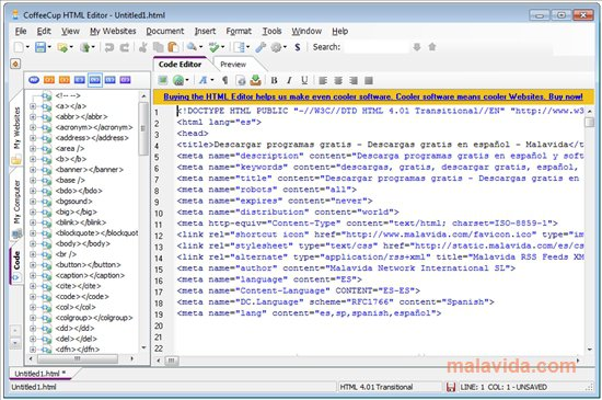 CoffeeCup HTML Editor App Preview