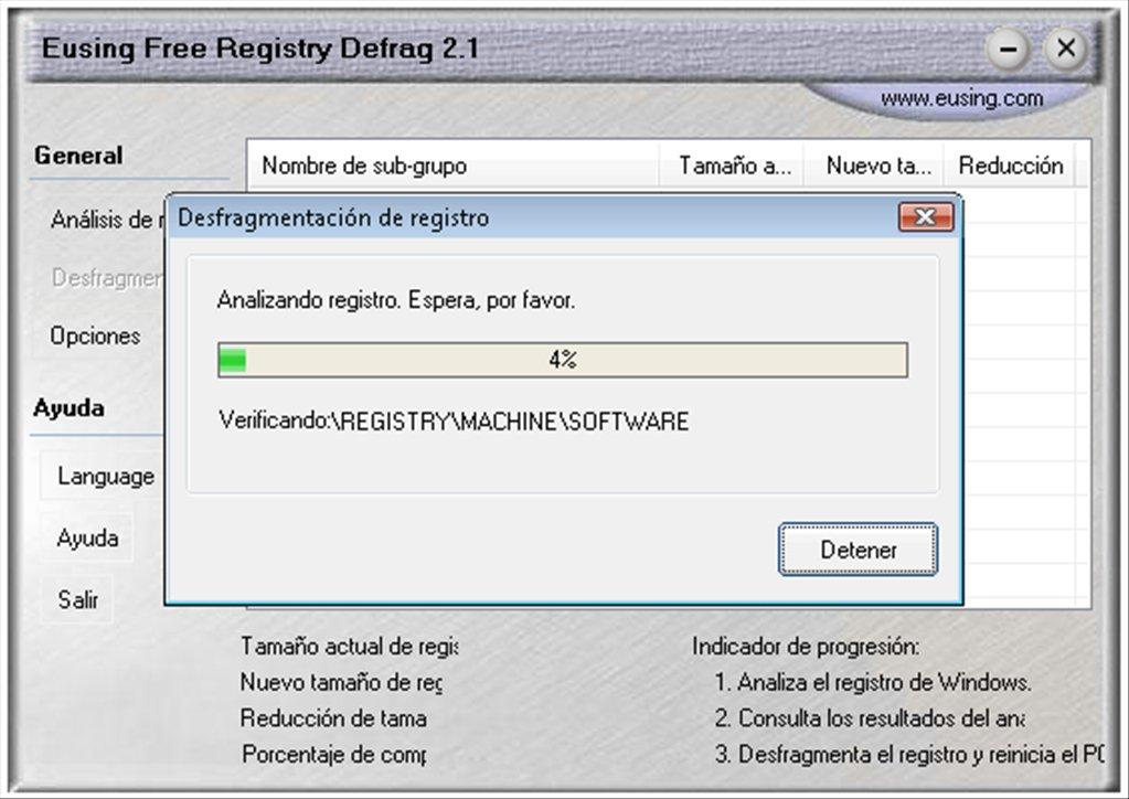 Eusing Free Registry Defrag App Latest Version for PC Windows 10