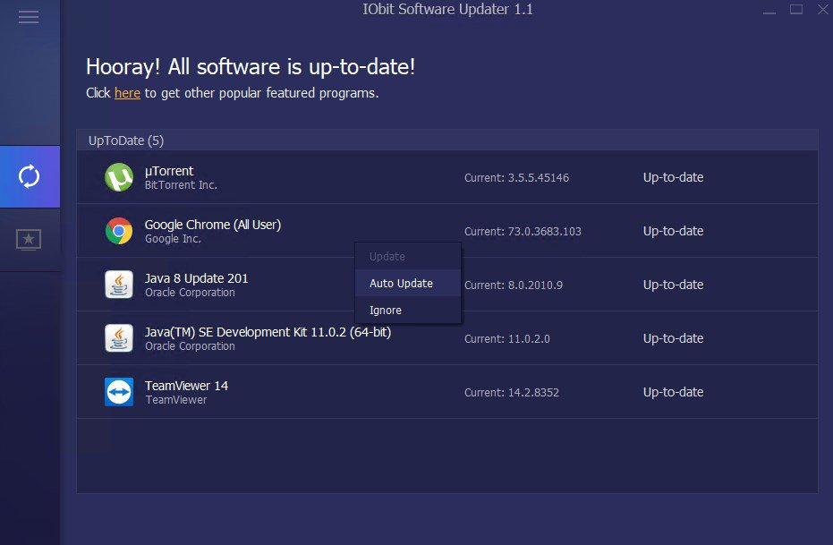 IObit Software Updater App Preview