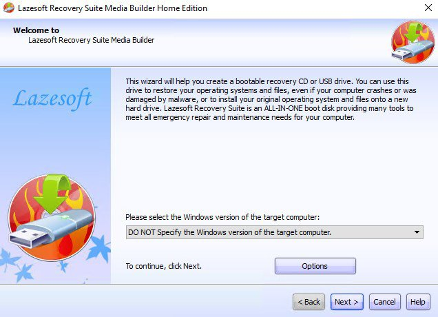 Lazesoft Recovery Suite Home App Preview