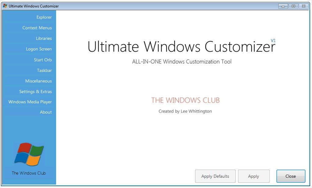 Ultimate Windows Customizer App Latest Version for PC Windows 10