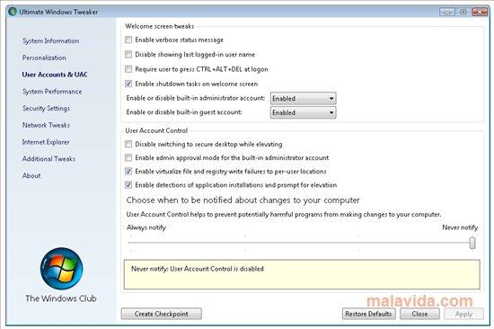 Ultimate Windows Tweaker App Latest Version for PC Windows 10