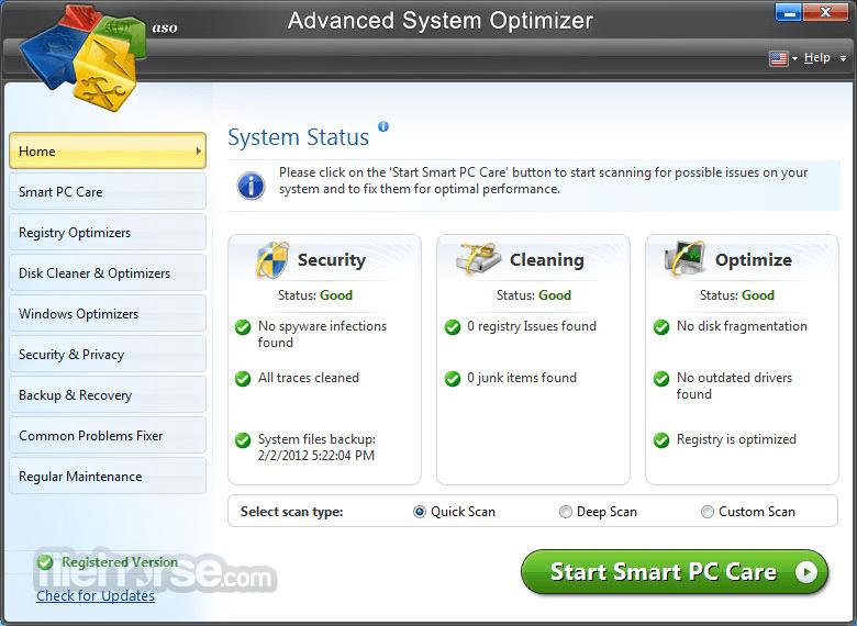 Advanced System Optimizer App for PC Windows 10 Last Version