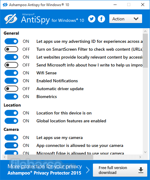 Ashampoo AntiSpy App for PC Windows 10 Last Version