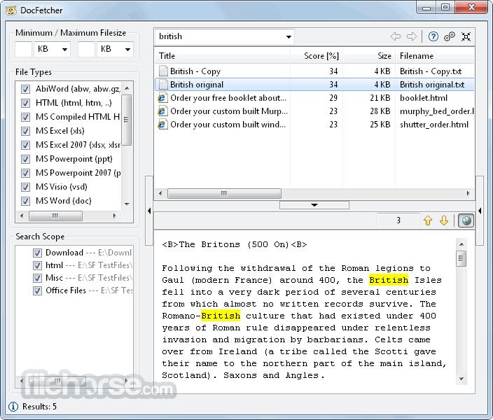 DocFetcher App for PC Windows 10 Last Version